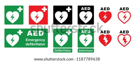 Emergency defibrillator AED icon Defibrillator cpr Vector eps Medical symbol of the Emergency location automated external defibrillator sign heart electricity symbol flat safe public signs life cross