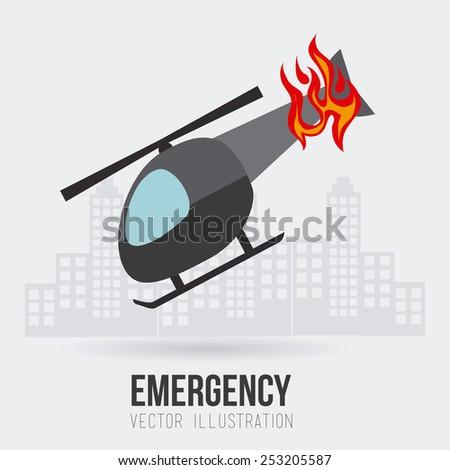 emergency design over white