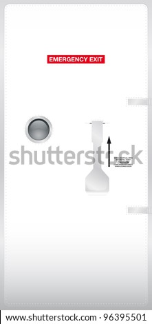 Emergency door of a plane, external view - Vector illustration Eps10.