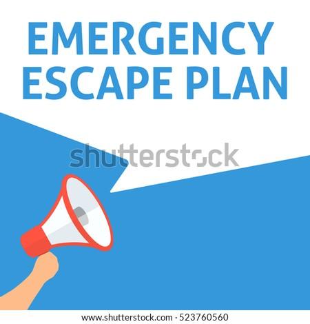EMERGENCY ESCAPE PLAN Announcement. Hand Holding Megaphone With Speech Bubble. Flat Illustration