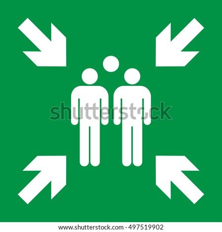 Emergency evacuation assembly point sign, gathering point signboard, vector illustration.
