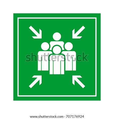 Emergency evacuation assembly point sign vector illustration.