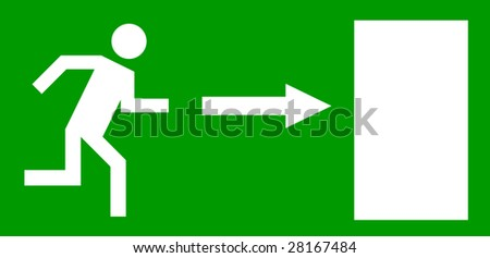 Emergency exit door, sign with human figure