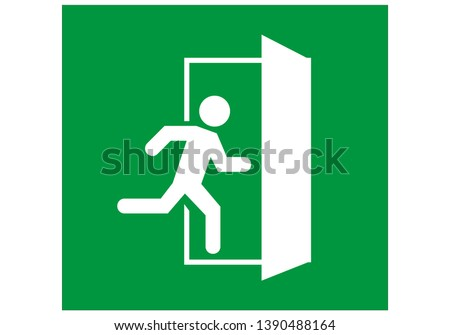 emergency exit door vector. direction sign. green color. safety illustration Stockfoto ©