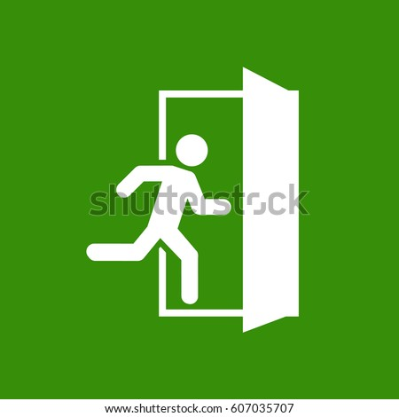Emergency exit, escape route sign. Vector illustration