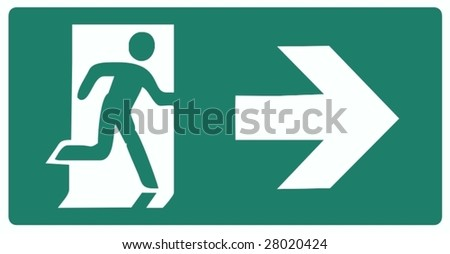 emergency exit green label isolated vector illustration