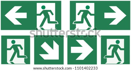 emergency exit sign set download free vector art stock graphics