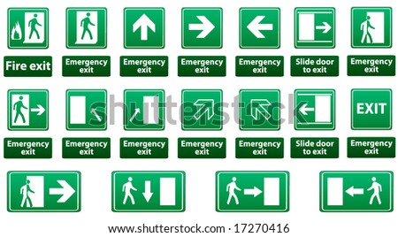 emergency exit sign vector pack - FULL GREEN VERSION