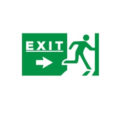 Emergency exit sign with human icon