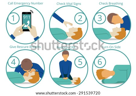Emergency first aid cpr procedure. Health and medical, life and emergency,  reanimation and rescue. Vector illustration