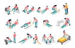 Emergency first aid isometric recolor set with broken bones fractures burns cuts bites poisoning chocking vector illustration