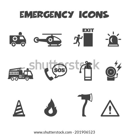 emergency icons, mono vector symbols