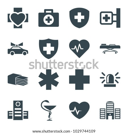 Emergency icons. set of 16 editable filled emergency icons such as siren, heartbeat, first aid, medical cross, hospital, medical sign, medicine, hospital stretch, police car