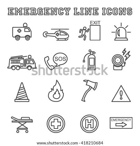 emergency line icons, mono vector symbols