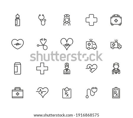 Emergency line icons set. Stroke vector elements for trendy design. Simple pictograms for mobile concept and web apps. Vector line icons isolated on a white background.