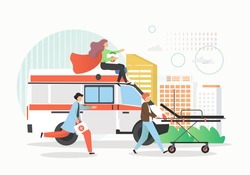 Emergency medical services, vector flat style design illustration. Hospital ambulance car, doctor paramedic emergency ambulance staff male and female cartoon characters with stretcher, first aid kit.
