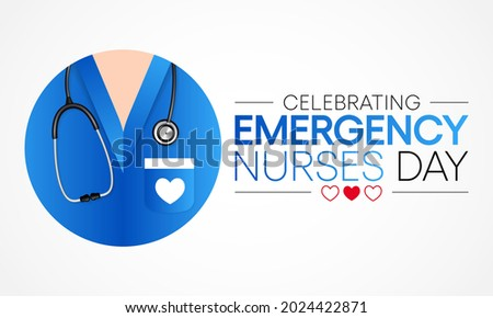 Emergency Nurses day is observed every year in October, ER nurses treat patients who are suffering from trauma, injury or severe medical conditions and require urgent treatment. Vector illustration Stock fotó ©