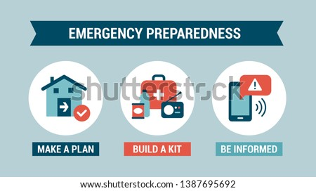 Emergency preparedness instructions for safety: make a plan, build a kit and stay informed Stock foto ©
