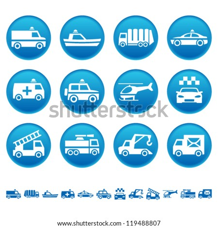 Emergency rescue and other special transportation icons