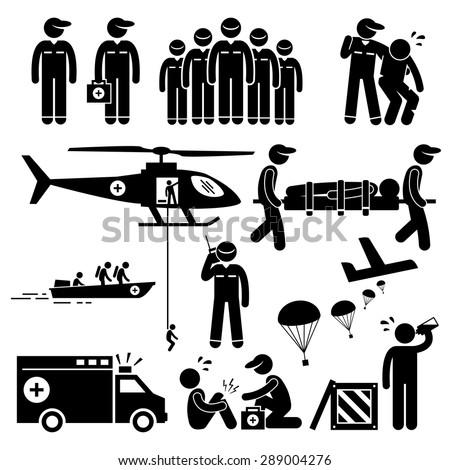 Emergency Rescue Team Stick Figure Pictogram Icons