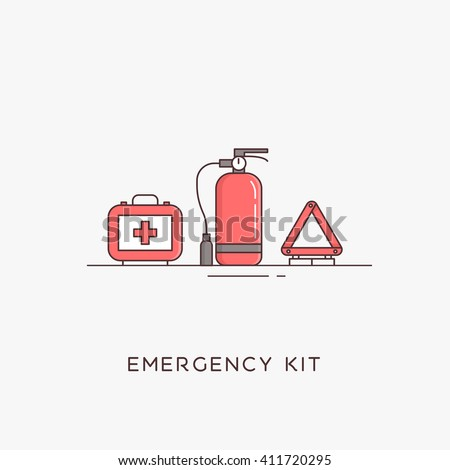 Emergency road kit items. Emergency flat line icons set. Automobile items. Vector illustrations. The set of basic necessities in case of accidents Сток-фото ©