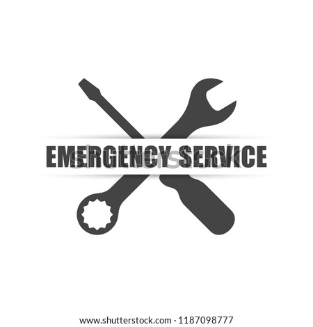 Emergency service logo with wrench & screwdriver silhouettes