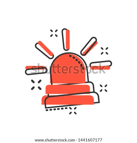 Emergency siren icon in comic style. Police alarm vector cartoon illustration on white isolated background. Medical alert business concept splash effect.