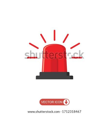 Emergency siren icon in flat style. warning sign, police alarm, ambulance alarm, Medical alert. vector illustration