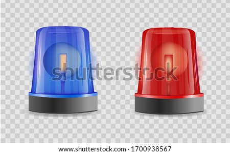 Emergency siren realistic 3D transparent background . Police alarm vector illustration on white isolated background. Medical alert business concept. Stockfoto ©