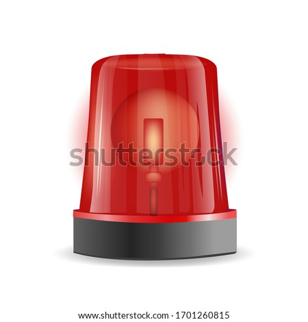 Emergency siren realistic 3D transparent background. Police or ambulance red flasher siren Stockfoto ©