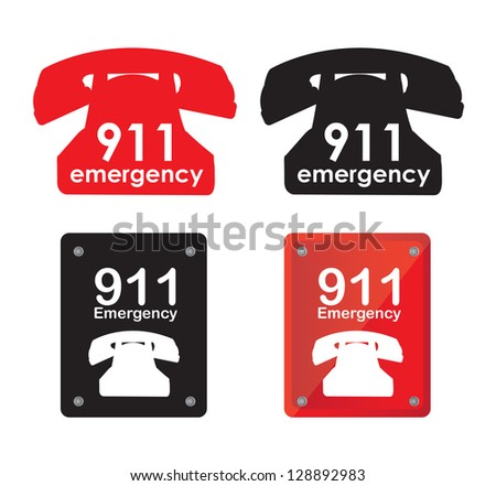 Emergency telephone over white background vector illustration
