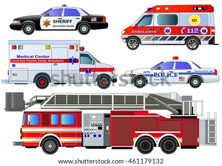 emergency transport icons set