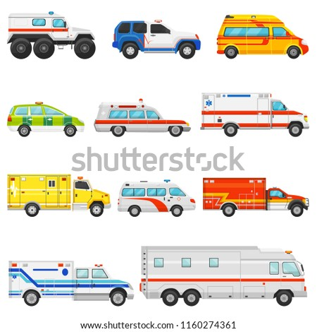 Emergency vehicle vector ambulance transport and service truck illustration set of rescue cmedical car and minibus or van isolated on white background