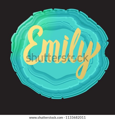 emily card golden lettering