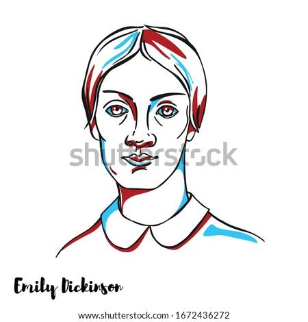 emily dickinson engraved vector