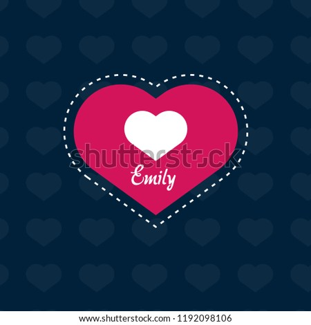 emily woman name with heart