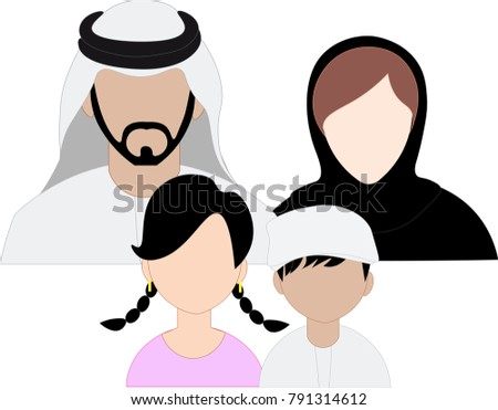 Emirates family icon set - Arab Family