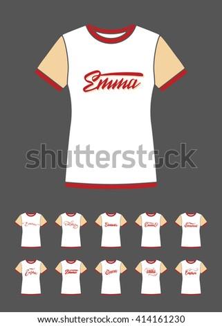 emma vector t shirt lettering