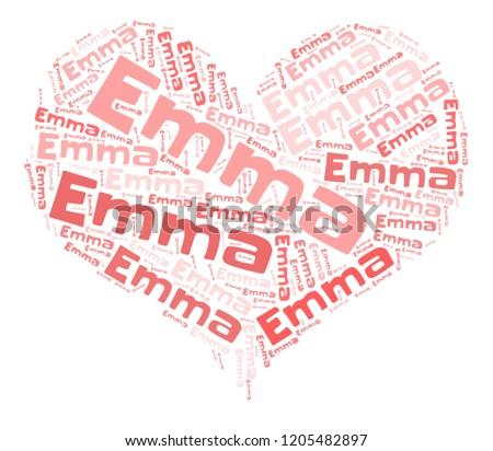 emma word cloud in heart shape