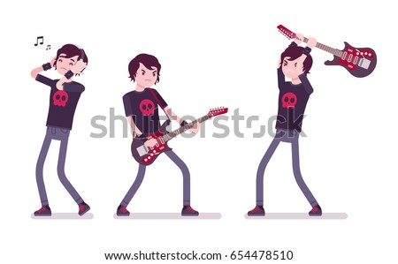 Emo boy, true subculture look, skinny jeans, black t-shirt, choppy hair, playing, crashing guitar, listening to music in headphones. Vector flat style cartoon illustration, isolated, white background