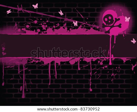 Emo brick wall with Banner. EPS 8 CMYK with global colors vector illustration.