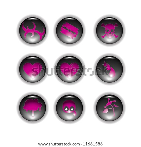 Emo buttons different symbols