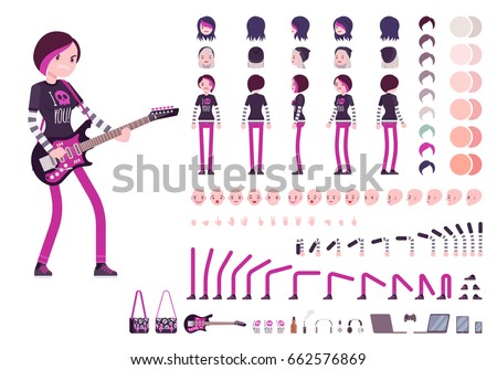 Emo girl character creation set, true black subculture look. Full length, different views, emotions, gestures, white background. Build your own design. Cartoon flat-style infographic illustration