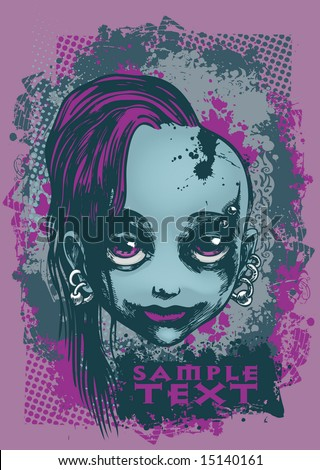 emo girl  vector illustration