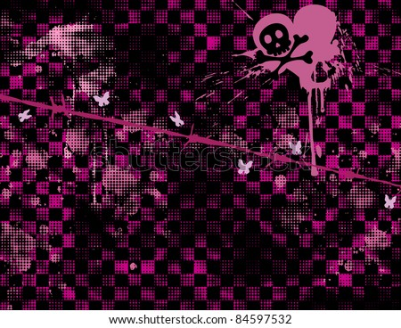 Emo grungy background with skull and crossbones.
