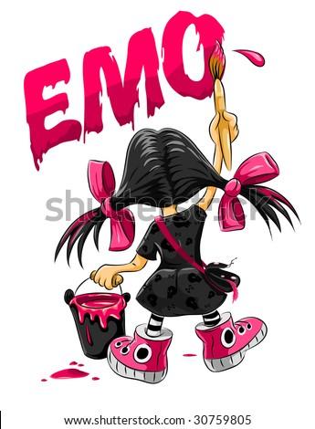 emo kid girl drawing on the