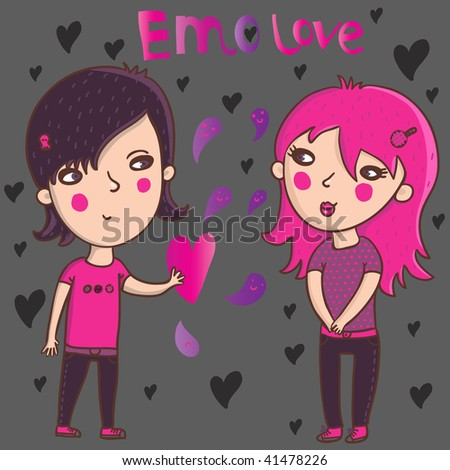 stock vector : Emo love.