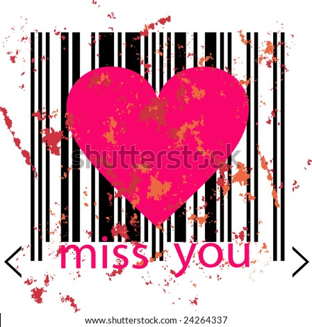 stock vector : emo love concept - pink heart marked by barcode