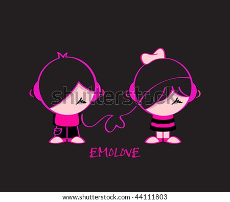 stock vector : Emo pair in music love isolated over black