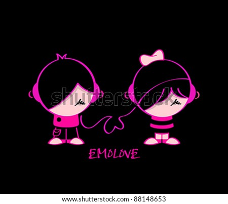 emo pair in music love isolated